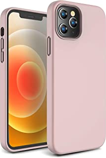 CANSHN Compatible with iPhone 12 Case and iPhone 12 Pro Case 6.1' 2020, Liquid Silicone Soft Gel Rubber Full Body Protection Shockproof Phone Case Cover - Pink Sand