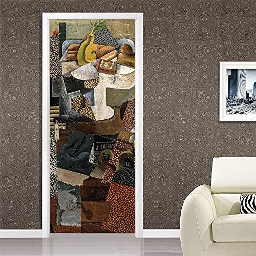 Puerta Pegatinas Mural Pvc Adhesivo Adhesivos Para Puertas Decorativos Desmontable Autoadhesiva Pegatinas De Puerta 3d Murales Pablo Picasso Bodegón con plato de fruta y vaso. 77x200cm