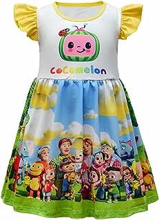 Tsyllyp Little Girls Casual Dress Cartoon Watermelon Printing Sundress Milksilk