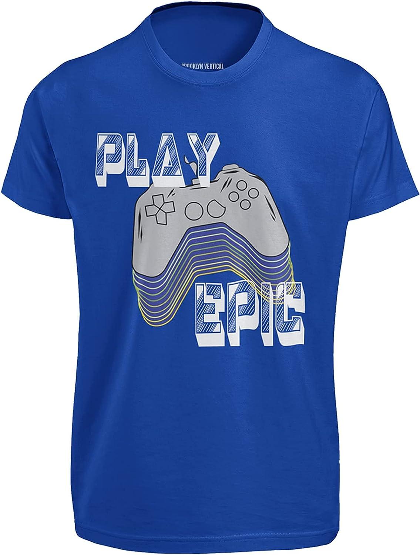 BROOKLYN VERTICAL Boys Gaming T-Shirt Printed Crew Neck Short Sleeve | Sizes 6-20