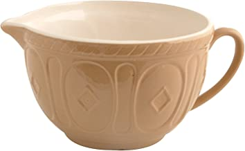 Mason Cash Color Mix Ceramic Batter Bowl; Large Enough to Whisk and Mix Ingredients; Pouring Lip and Handle; 8-Cups/Half Gallon; 10-1/4-Inches by 7-3/4-Inches by 5-Inches; Cane