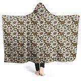 HARXISE Manta con Capucha,Estampado de Flores Cosmos marrón y Crema,Suave Siesta ponible Mantas de Viaje/Vacaciones/Casual 50x40