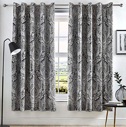 Dreams & Drapes - Maduri - Ready Made Lined Eyelet Curtains - 66' Width x 72' Drop (168 x 183cm) in Black