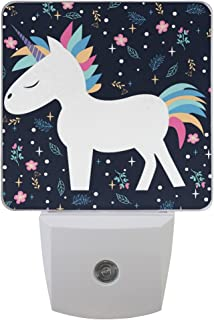 JOYPRINT Led Night Light Cute Floral Animal Unicorn, Auto Senor Dusk to Dawn Night Light Plug in for Kids Baby Girls Boys Adults Room