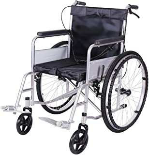 YE ZI Wheelchair- Wheelchair-Self-propelled, Steel Tube Material, Manual Folding Lightweight Push Chair, Front and Rear Brakes, Scooter Walker