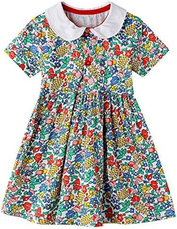 HILEELANG Toddler Girls Summer Dresses Floral Print Short Sleeve Doll Peter Pan Collar Swing product image
