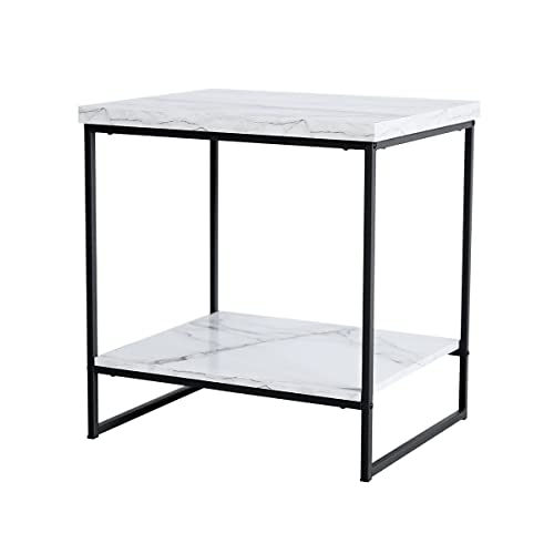 White Marble Side Table: Amazon.com