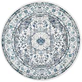 Safavieh Evoke Collection EVK220D Shabby Chic Oriental Medallion Non-Shedding Stain Resistant Living Room Bedroom Area Rug, 3' x 3' Round, Ivory / Grey