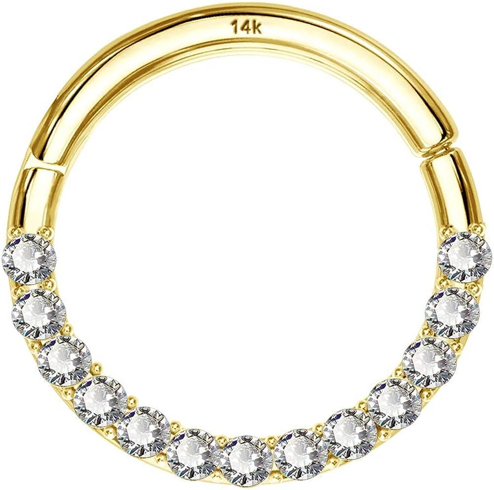 COCHARM 14K Solid Gold Seamless Nose Ring 16G Septum Rings 18G Hinged Segemnt Ring Body Piercing Rings