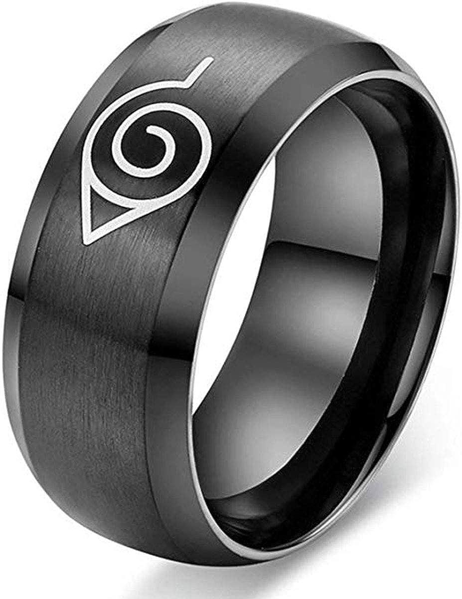 Anillo de acero inoxidable para hombre y mujer, diseño de anime, color negro