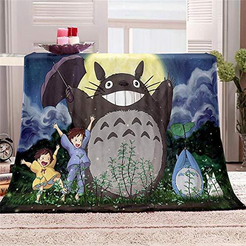 Manta de Sofá y Cama Mi Vecino Totoro Anime Manta Suave y Cálida, Gruesa y Esponjosa Manta de Felpa de Franela Mantas para Cama 130x150cm