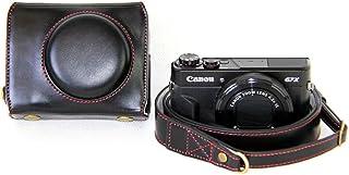 Mercs 高級合皮レザー ミラーレス一眼 カメラケース Canon PowerShot G7 X MarkII 専用 セパレート式 電池交換できるデザイン ショルダーベルト付き (ブラック)