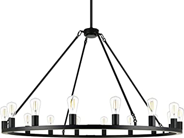 Linea 48 inch Black Wagon Wheel Chandelier - Modern Farmhouse Round Rustic Chandelier Lighting for High Ceilings, Dining Room