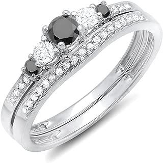 0.45 Carat (ctw) 14k Round Black & White Diamond 5 Stone Bridal Engagement Ring Set 1/2 CT, White Gold
