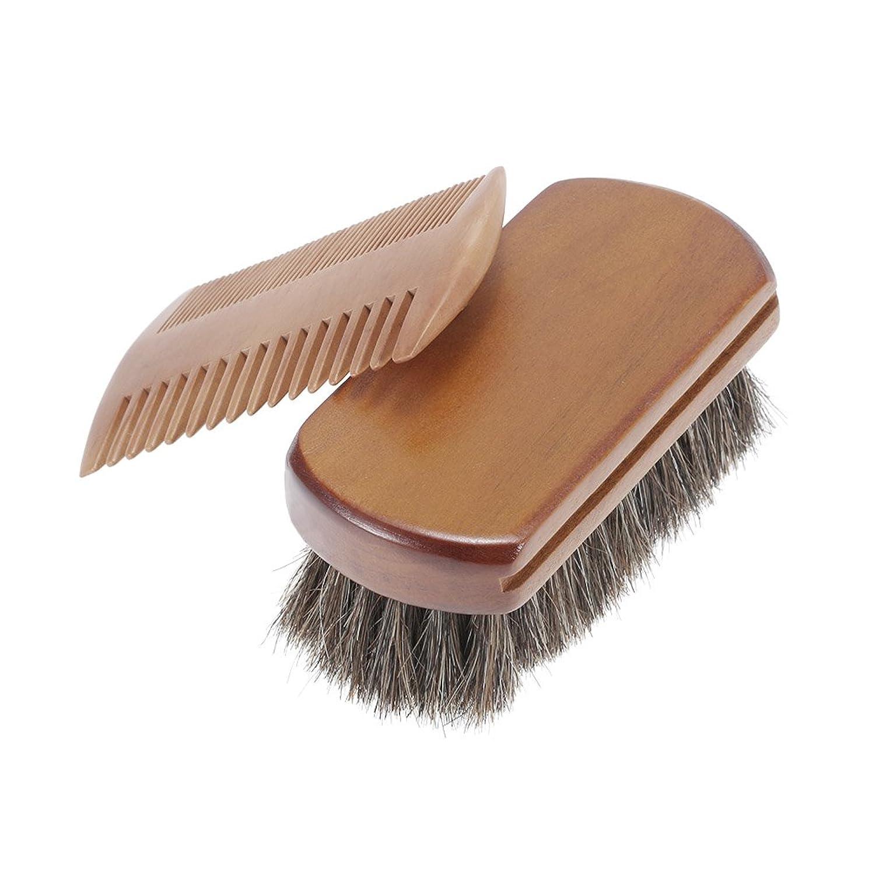 特別なはげペンフレンドDecdeal メンズビアードブラシ&くしキット 口ひげシェービングブラシ ゴールデンサンダルウッド 髭くし 男性ひげブラシセット 馬毛