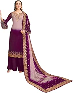 مصمم أرجواني لباكستان هندي مسلم مطرز مستقيم كراب بالازو أزياء بوليوود العرقية 5999