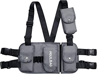 VOCUS Fashion Chest Front Bag Pouch Multipurpose Sport Backpack Daypack Nylon Tactical Chest Rig for Men Women (A-Grey)