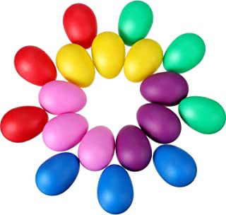 Hestya 18 Pieces Easter Eggs Colorful Maracas Eggs Plastic Egg Shakers Set Maracas Eggs Shakers for Easter Party Bag Fillers Party Favors Musical Toys, 6 Colors