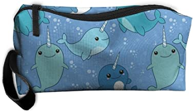 Travel Makeup Cute Narwhal Pattern Cosmetic Case Organizer Portable Artist Storage Bag Toiletry Jewelry Bag