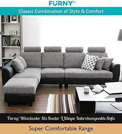 Furny Winchester Six Seater L Shape Interchangeable Sofa (Grey- Black)