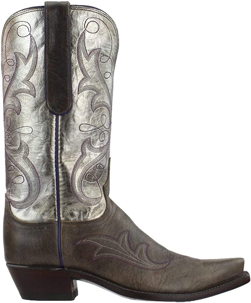 Lucchese Womens Tansy Goat Metallic Snip Toe Boots Mid Calf Low Heel 1-2