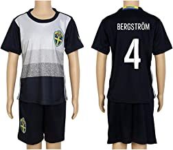 2016 UEFA Euro #4 Bergstrom Black Away Kids Soccer Jersey & Short Kit Set