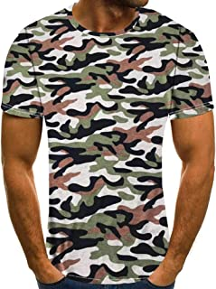 Hipster Cotton Camouflage T Shirts Mens Short Sleeve Tops Crewneck Curved Hem Longline