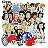 Grey's Anatomy Stickers/Decals Waterproof Stickers/Decals (50 pcs) of American TV Series for Laptop Skateboard Snowboard Water Bottle Phone Car Bicycle Luggage Guitar Computer PS4 (Grey)