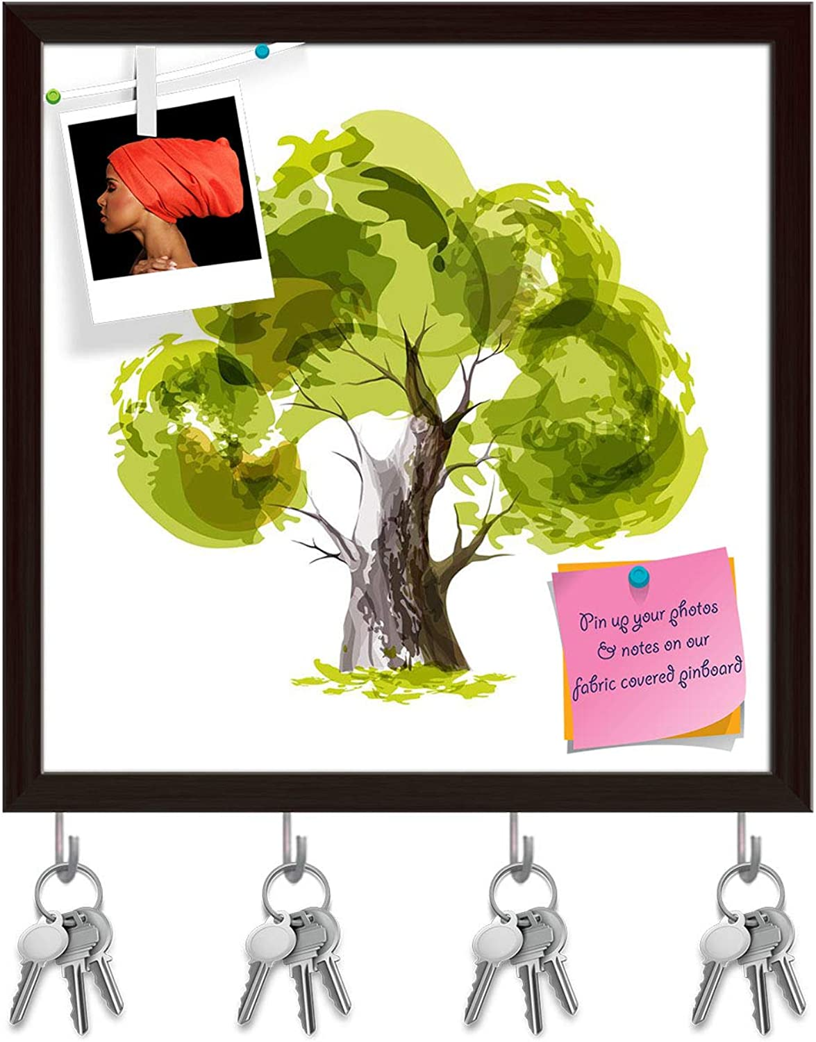 Artzfolio Stylized Green Tree Key Holder Hooks   Notice Pin Board   Dark Brown Frame 20 X 20Inch