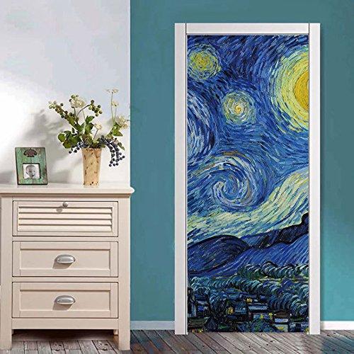 Lihaohao fotobehang deur, Van Gogh creatieve deursticker 90cm*200cm A