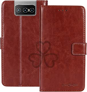 TienJueShi Brown Book Stand Retro Flip Leather Protector Phone TPU Silicone Case For Asus Zenfone 7 Pro ZS671KS 6.67 inch ...