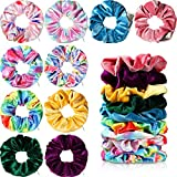 10 Pieces Velvet Hair Scrunchies with Hidden Pocket Zipper Tie Dye Rainbow Stash Scrunchy Hair Ties Rope Colorful Elastic Hair Bands Ponytail Holders Hair Accessories for Women Girls