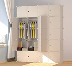 JOISCOPE MEGAFUTURE Wood Pattern Portable Wardrobe Closet for Hanging Clothes, Combination Armoire, Modular Cabinet for Sp...