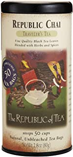 The Republic of Tea Republic Chai Black Tea, 50 Tea Bag Tin