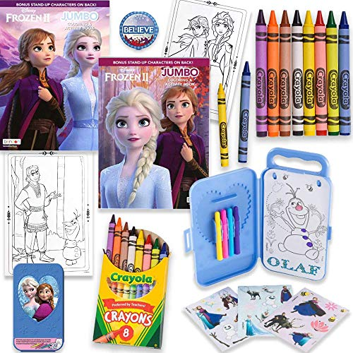 Frozen II 80 Page Coloring And Activity Books With Crayons, Frozen Stickers, Box, Markers, 20 Activity Pages And Pin, By Another Dream