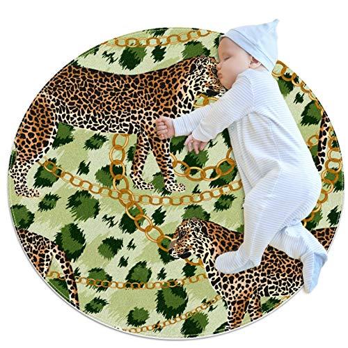 Haminaya Alfombras de cocina antideslizante lavable círculo alfombra redonda alfombra de baño niños dormitorio, tres leopardo cadena oro verde tigre piel