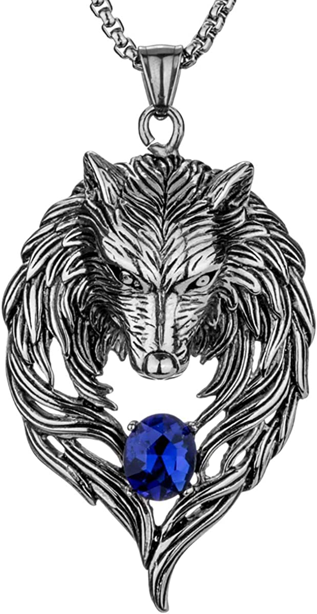 YACQ Men's Women's Stainless Steel Wolf Couple Necklaces Jewelry Gifts for Him and Her