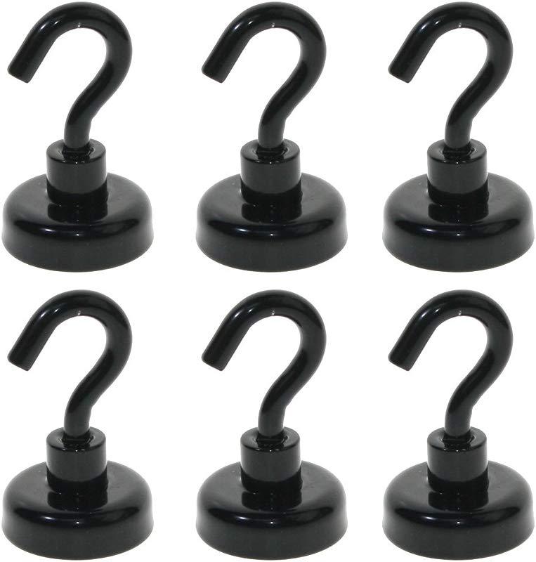 BIGTEDDY 6pcs 1 Magnets Magnetic Hanging Hooks 40 LB Holding Power For Kitchen Fridge Outdoor Black