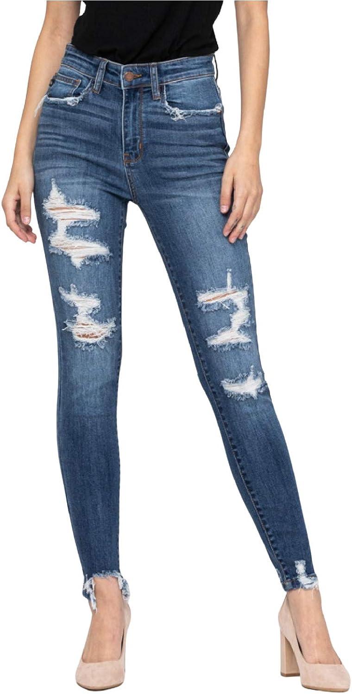 Judy Popular price standard Blue High Waist Destroyed Style: Jeans 82147 Skinny