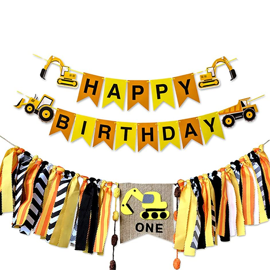 Construction Themed Happy Birthday Banner Boy 1st Birthday Party Highchair Banner Bunting Garland Photo Booth Bachdrop