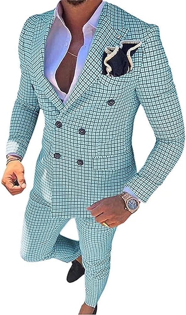 Men's 2 Piece Suit Set Slim Fit Wedding Blazer Jacket Tuxedo Suit Pants