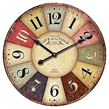 12-inch Wooden Clock, Eruner Vintage Wood Wall Clock - [Cafe De La Tour] Retro Style France Paris London Country Non-Ticking Silent Wooden Wall Clock (#01)