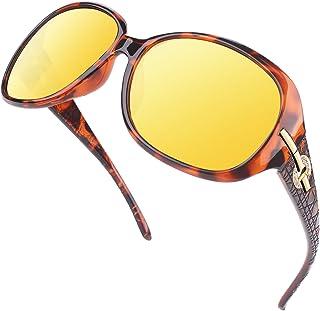 GQUEEN lunettes conduite de nuit femme lunettes de vision nocturne polarisés et anti-reflets Protection UV de 100%