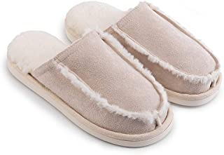 House Soft Slippers, Warm Wool Slippers, Women's Comfort Spring Autumn Winter Slip On Memory Foam Shoes,Beige,L