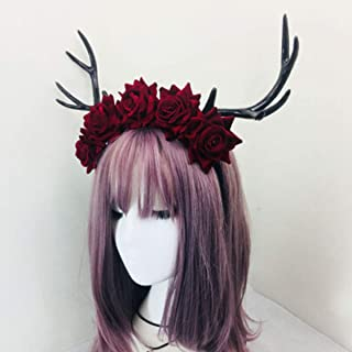 XLEIYI Rose antlers Sen female style Christmas headdress antler horn headband with flower rose antlers (Color : Red)