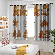 hengshu Gingerbread Man 99% Blackout Curtains Vivid Cute Christmas Gingerbread Biscuits Set Snowflake House Tree for Bedroom Kindergarten Living Room W72 x L72 Inch Pale Brown White