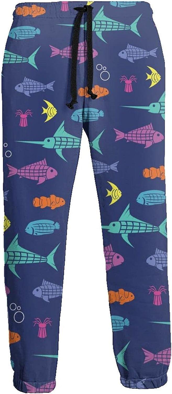 Men's Jogger Sweatpants Sea Animals Fishes 3D Loose Joggers Pants with Drawstring Long Pants
