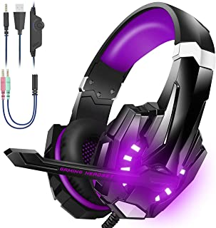 Bengoo Stereo Gaming Headset voor PS4, PC, Xbox One Controller, Noise Cancelling Over Ear Hoofdtelefoon met Microfoon, LED...