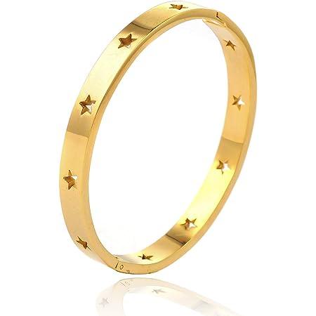 Star Love - Bracciale rigido rigido rigido in acciaio inox lucido oro rosa e argento