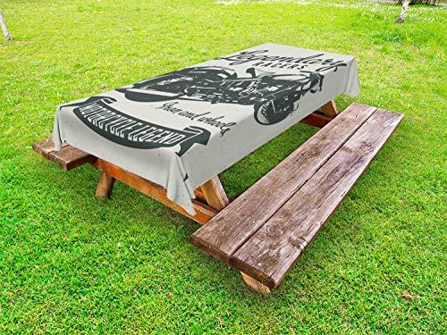 ABAKUHAUS Motorfiets Tafelkleed voor Buitengebruik, Cruiser Bike Woorden, Decoratief Wasbaar Tafelkleed voor Picknicktafel, 58 x 120 cm, Sage Green Green